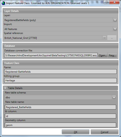 The Import Layer form