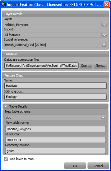 Import layer dialogue