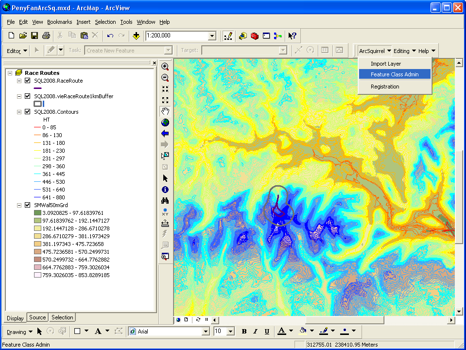 GISquirrel data and menu in ArcMap